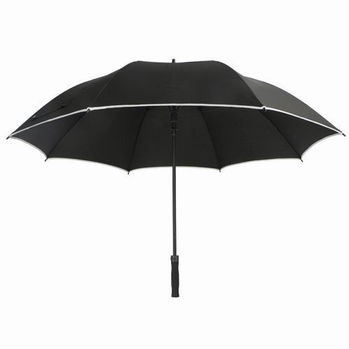Black RPET Windproof Golf Umbrellas Reflective Perimeter Tape For Safety