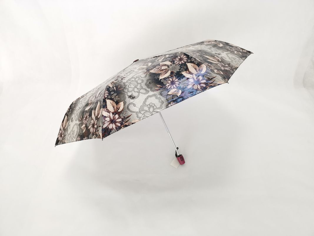 Iridescent Water Proof Fabric 3 Fold Automatic Umbrella , Wind Resistant Umbrella