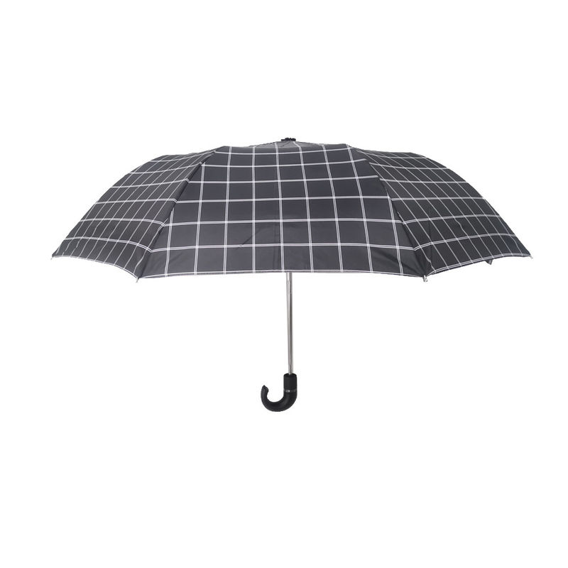 Strong 2 Folding Golf Umbrella Windproof Tartan Design With Crook PU Handle